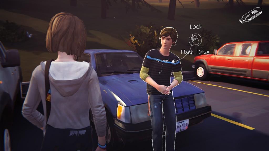 """Das Bedieninterface wirkt wie vieles im Spiel """"skizziert"""". Im Bild: Max und der an ihr interessierte Wissenschaftsnerd Warren (Eigener Screenshot aus Life is Strange, DontNod/Square Enix)"""